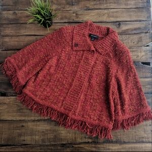 St.John Fringe Speckled Knit Cardigan